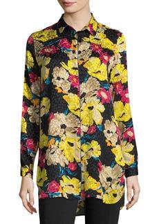 Hi-Lo Floral Jacquard Button-Down