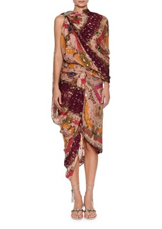 Etro High-Neck Sleeveless Metallic Printed Draped Sari Dress