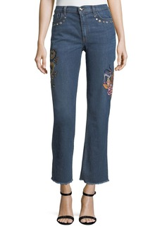 Etro High-Rise Straight-Leg Jeans w/ Embroidery & Studded Trim