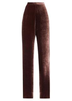 Etro High-rise velvet wide-leg trousers