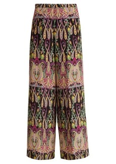 Etro High-rise wide-leg paisley-print silk trousers