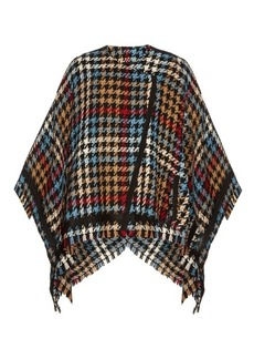 Etro Hound's-tooth checked wool-blend cape