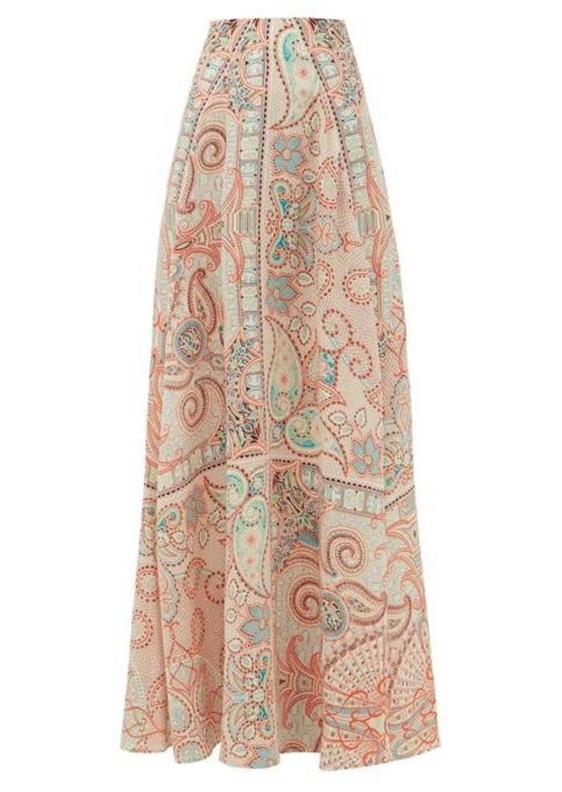 Etro Ibisco paisley-print silk-crepe skirt