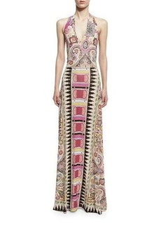 Etro Ikat & Paisley-Print Halter Gown