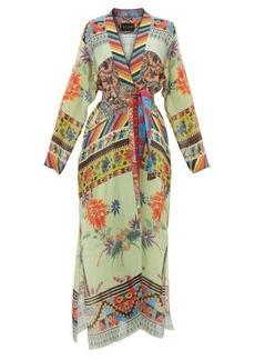 Etro Iris collarless patchwork-print robe