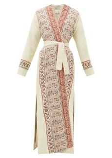 Etro Iris waist-tie paisley-jacquard coat