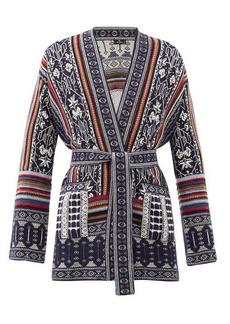 Etro Ischia belted wool-blend jacquard cardigan