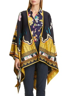 Etro Jacquard Wool Blend Open Front Poncho