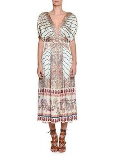 Etro Jasmin Pleated Printed Midi Dress