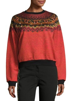 Jewel-Embellished Geometric Crewneck Sweatshirt