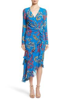 Etro Jungle Floral Print Asymmetrical Ruffle Dress