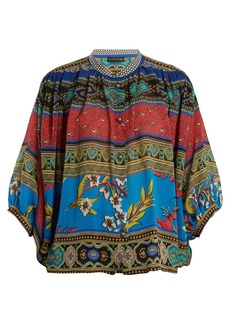Etro Jungle-print batwing-sleeve silk blouse