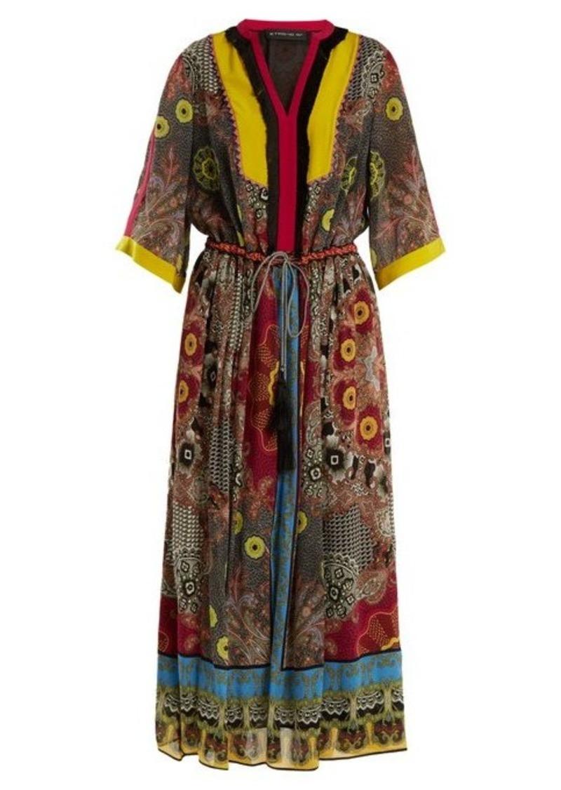 Etro Jungle-print fringe-trimmed silk dress