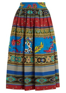 Etro Jungle-print gathered cotton midi skirt