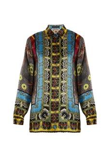 Etro Jungle-print hammered silk-satin shirt