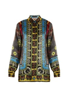 Etro Jungle-print hammered silk-satin shirt