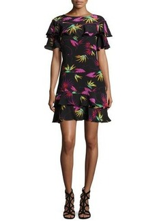 Etro Jungle-Print Ruffled Dress