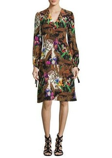 Etro Jungle-Print Tie Long-Sleeve Dress