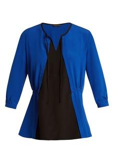 Etro Kaka bi-colour silk-crepe top