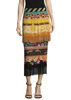 Knit Fringe Printed Skirt