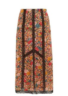 Etro Lace-insert floral-print crepe skirt