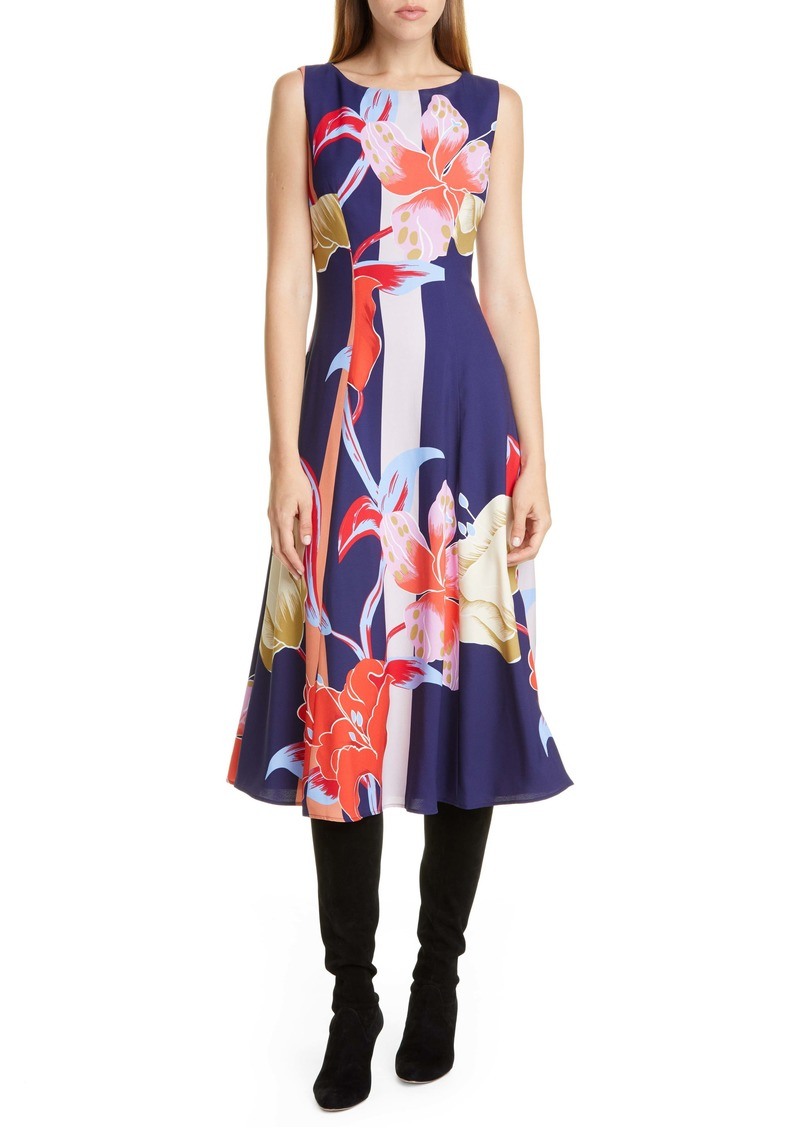Etro Large Lily Print Crepe Midi Dress