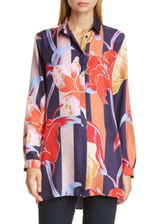 Etro Large Lily Print Silk Tunic Shirt