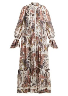 Etro Leaf-print lace-trimmed cotton-blend dress