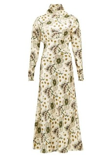 Etro Leicester high-neck floral-print satin dress