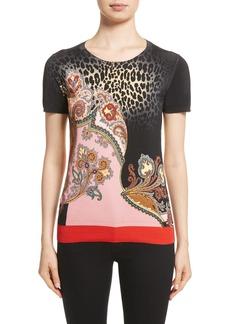 Etro Leopard Paisley Print Stretch Silk Sweater