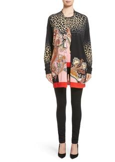 Etro Leopard Paisley Stretch Silk Cardigan