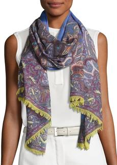 Etro Lightweight Paisley Wool-Blend Scarf
