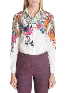 Etro Lily & Paisley Print Stretch Poplin Shirt