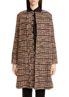Etro Long Cotton Blend Tweed Coat