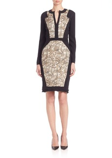 Etro Long-Sleeve Floral Brocade Dress