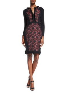 Etro Long-Sleeve Floral-Inset Dress