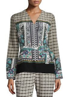 Etro Long-Sleeve Multi-Print Wrap Blouse