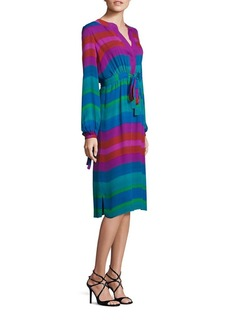 Etro Long-Sleeve Multi Stripe Silk Dress