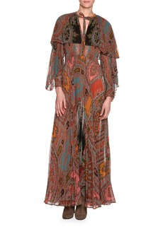 Etro Long-Sleeve Printed Plissé Silk Gown with Capelet