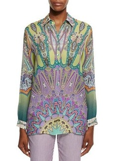 Etro Long-Sleeve Printed Silk Tunic