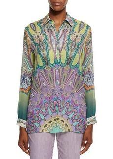 Etro Long-Sleeve Printed Silk Tunic