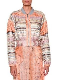 Etro Long-Sleeve Ribbon Bomber Jacket