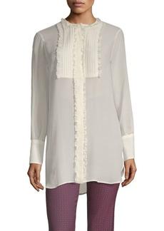 Long-Sleeve Silk Sheer Ruffle Blouse
