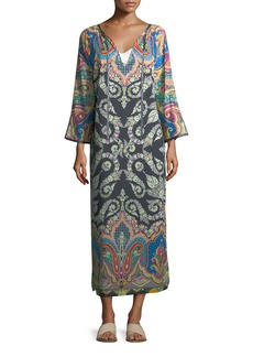 Etro Long-Sleeve Split-Neck Caftan Maxi Dress