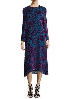 Etro Long-Sleeve Velvet Midi Dress
