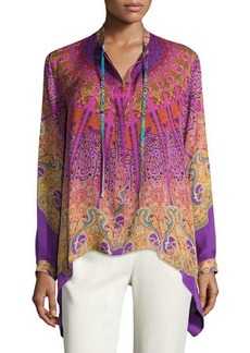 Etro Mandala-Print High-Low Silk Blouse