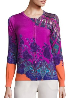 Etro Mandalla Floral Stretch-Silk Knit Cardigan