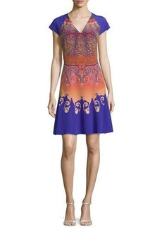 Etro Marrakech-Print Cap-Sleeve A-Line Dress