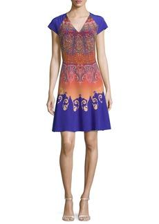 Etro Marrakech-Print Cap-Sleeve A-Line Dress