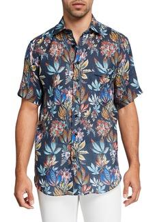 Etro Men's Floral Linen Hawaiian Shirt